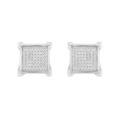 1/3 CT. T.W. White Diamond Sterling Silver 11.2mm Stud Earrings