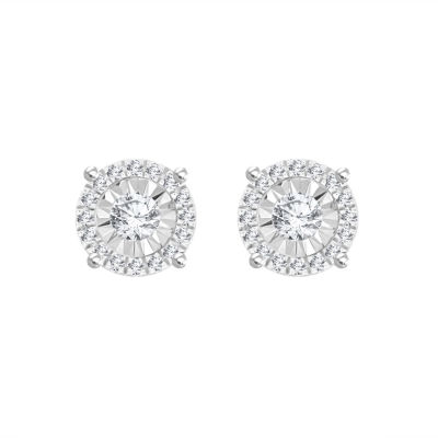 1/3 CT. T.W. White Diamond Sterling Silver 6.9mm Stud Earrings