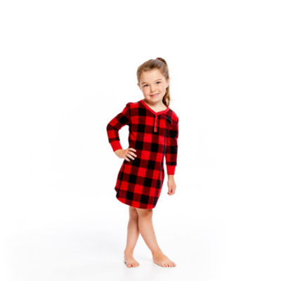 HOLIDAY #FAMJAMS RED BLACK BUFFALO BELIEVE GOWN - GIRL'S TODDLER