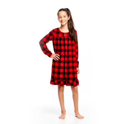 HOLIDAY #FAMJAMS RED BLACK BUFFALO BELIEVE GOWN - GIRL'S