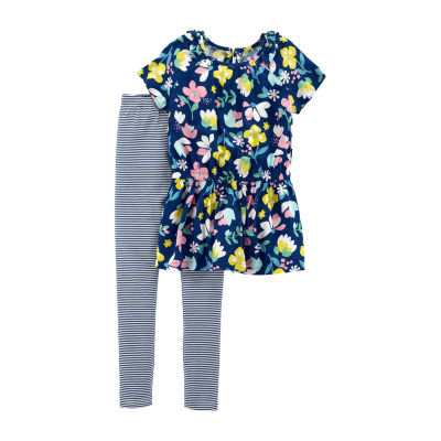 Carter's 2pc Floral & Stripe Legging Set- Preschool Girl