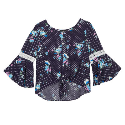 by&by Round Neck 3/4 Bell Sleeve Blouse - Big Kid Girls