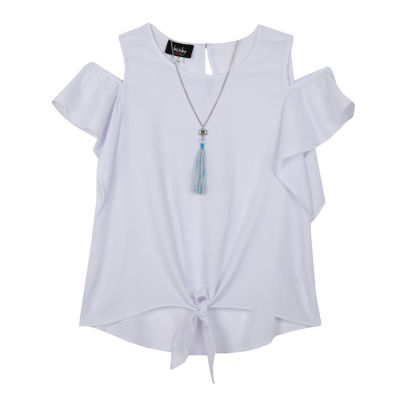 by&by girl Crew Neck Cold Shoulder Short Sleeve Blouse - Big Kid Girls