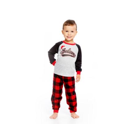 Holiday FAMJAMS Red Black Buffalo Believe 2 Piece Pajama Set - Boy's Toddler