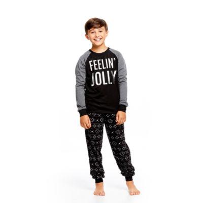 Holiday Famjams Black and Gray FairIsle 2 Piece Pajama Set - Boy's