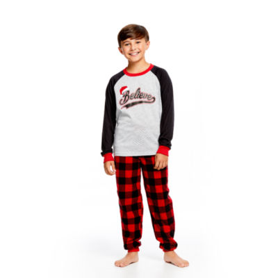 HOLIDAY #FAMJAMS Red Black Buffalo Believe 2 Piece Pajama Set - Boy's