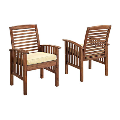Acacia Wood Set of 2 Patio Dining Chairs with Cushions