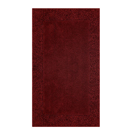 JCPenney Home Shag Border Washable Rectangular Rug, One Size , Red