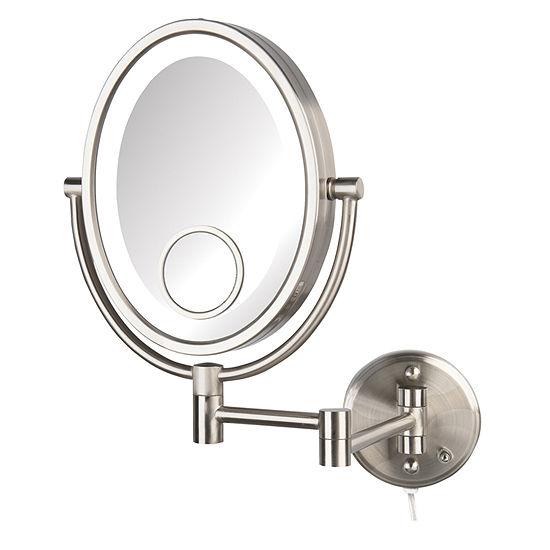 Jerdon HL9515NL LED Lighted Nickel Wall Mirror