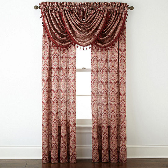 JCPenney Home Hilton Damask Light-Filtering Rod-Pocket Single Curtain Panel