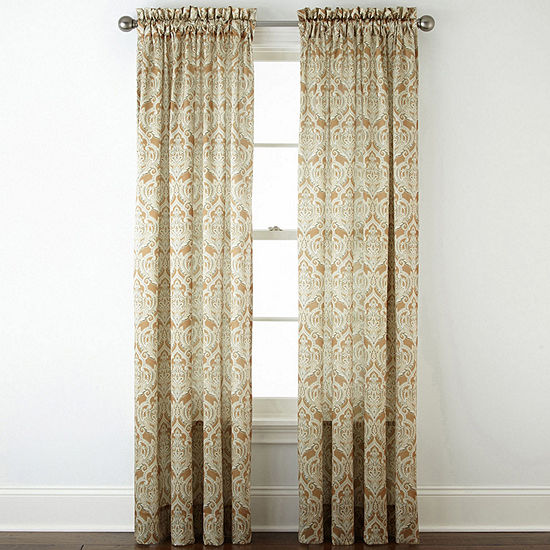 JCPenney Home Hilton Damask Light-Filtering Rod-Pocket Single Curtain Panel