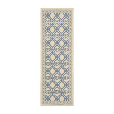 Safavieh Courtyard Collection Desi Geometric Indoor/Outdoor Runner Rug