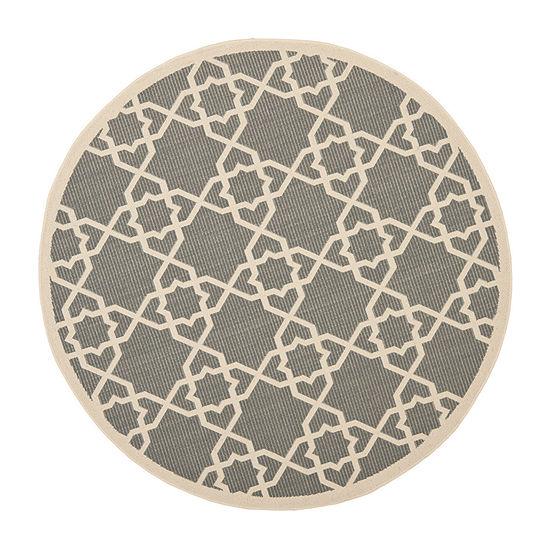 Safavieh Courtyard Collection Nicol Geometric Indoor/Outdoor Round Area Rug