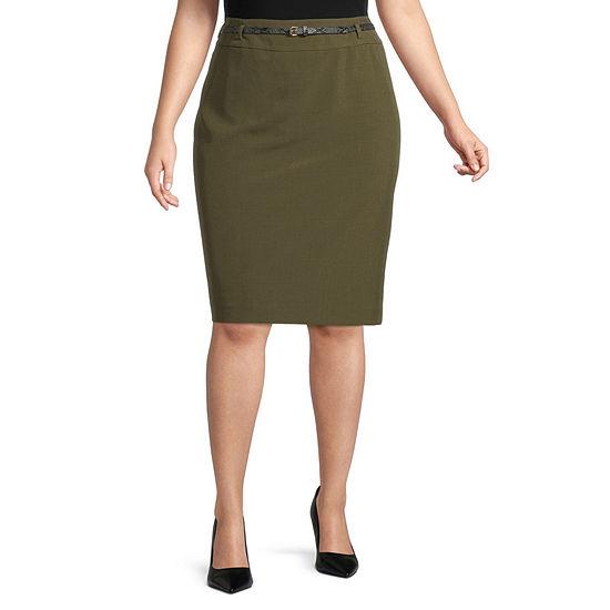 Black Label by Evan-Picone Womens High Rise Pencil Skirt-Plus