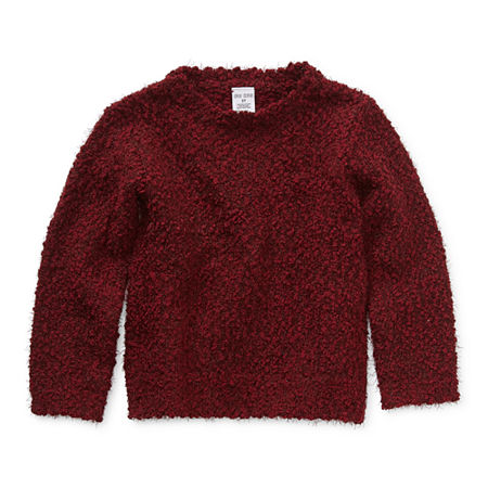 Okie Dokie Toddler Girls Crew Neck Long Sleeve Pullover Sweater, 2t , Red