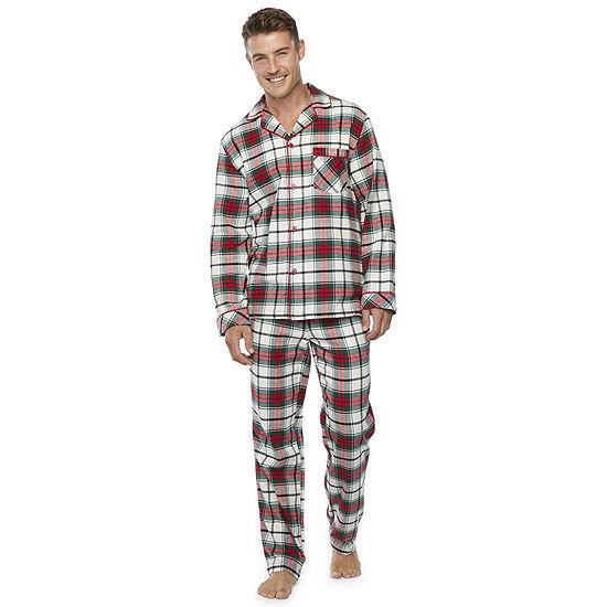 North Pole Trading Co. Plaid Mens Long Sleeve Pant Pajama Set 2-pc.