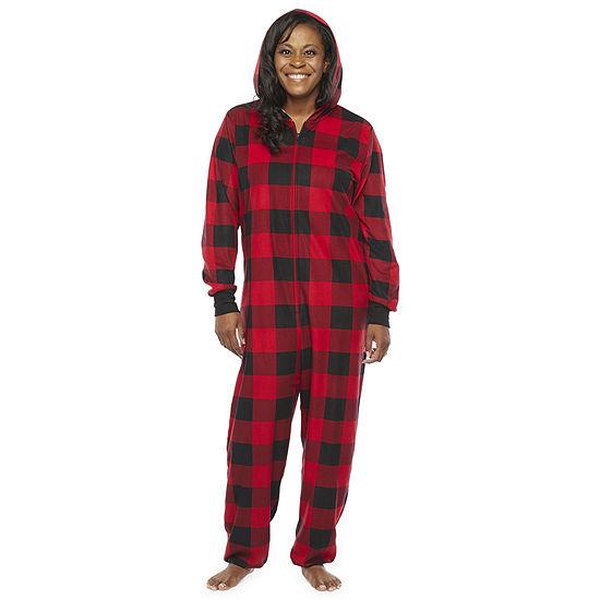 North Pole Trading Co. Buffalo Plaid Unisex Adult Fleece Long Sleeve One Piece Pajama