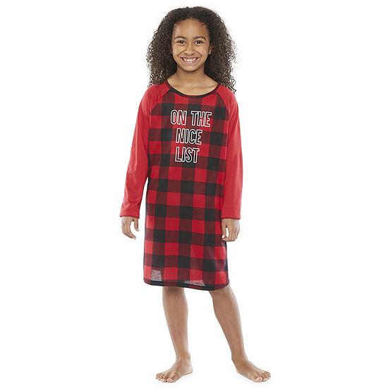 North Pole Trading Co. Buffalo Plaid Girls Long Sleeve Nightshirt