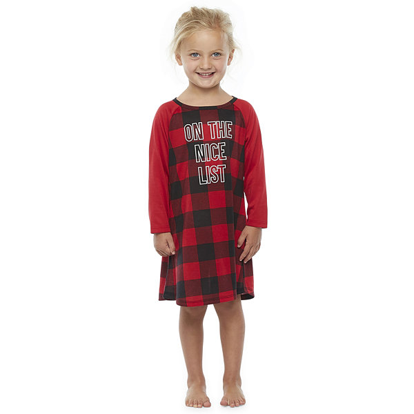 North Pole Trading Co. Buffalo Plaid Girls Long Sleeve Nightshirt