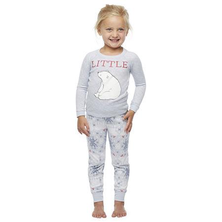 North Pole Trading Co. Polar Bear Toddler Unisex Christmas Pajama Set 2-pc., 2t , Gray
