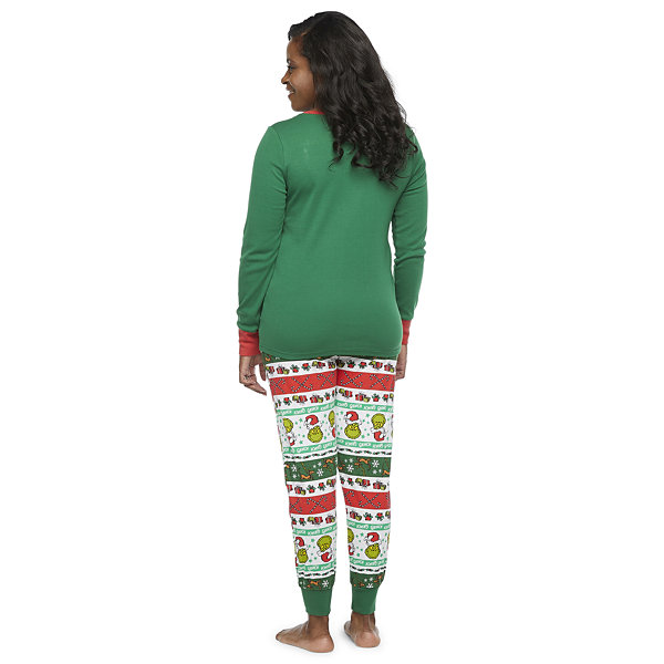 Dr. Seuss Grinch Holiday Family Womens Long Sleeve Pant Pajama Set 2-pc.