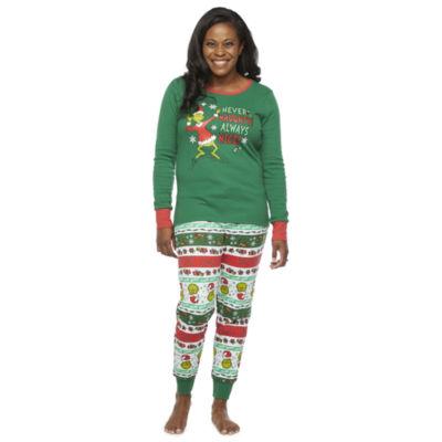 Dr. Seuss Grinch Holiday Family Womens Long Sleeve Pant Pajama Set 2-pc.
