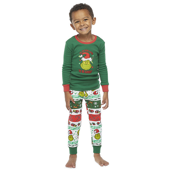 Dr. Seuss Grinch Holiday Family Toddler Unisex 2-pc. Grinch Christmas Pajama Set