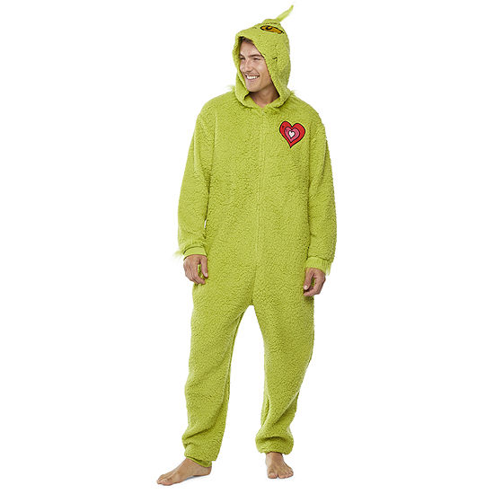 Dr. Seuss Grinch Mens Fleece Grinch Long Sleeve One Piece Pajama