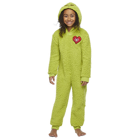 Dr. Seuss Grinch Little & Big Unisex Fleece Grinch Long Sleeve One Piece Pajama