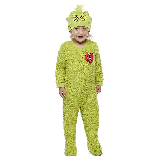 Dr. Seuss Grinch Toddler Unisex Average Figure Fleece Grinch Long Sleeve One Piece Pajama