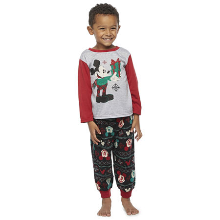 Disney Collection Toddler Boys 2-pc. Mickey Mouse Christmas Pajama Set, 2t , Black