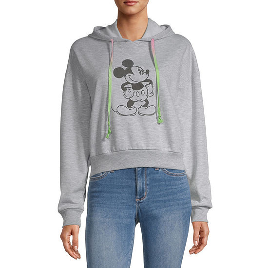 Disney Collection-Juniors Womens Long Sleeve Mickey Mouse Fleece Hoodie