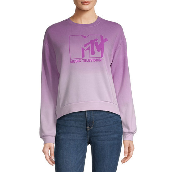 Juniors Mtv Womens Crew Neck Long Sleeve Tie-dye Sweatshirt