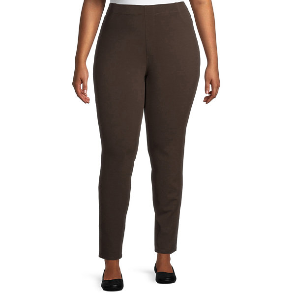 St. John's Bay-Plus Womens Straight Pull-On Pants