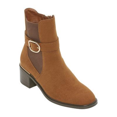 Liz Claiborne Womens Ellison Chelsea Boots Block Heel