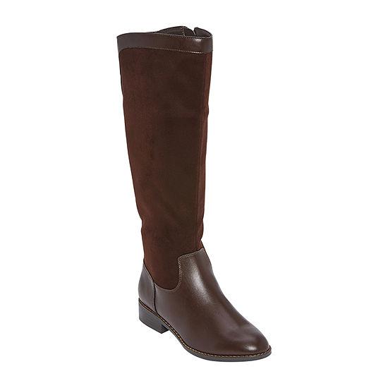 Liz Claiborne Womens Riverside Riding Boots Block Heel Wide Width