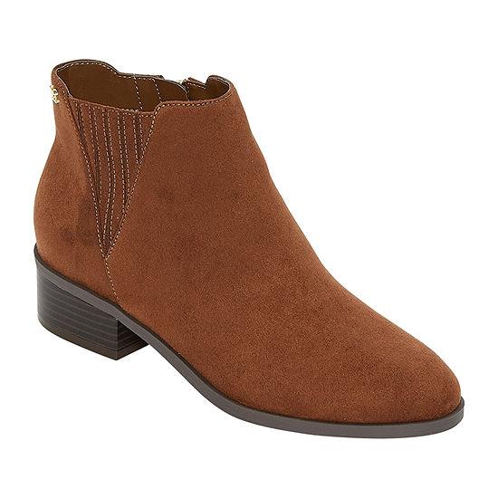 Liz Claiborne Womens Bedford Chelsea Boots Stacked Heel