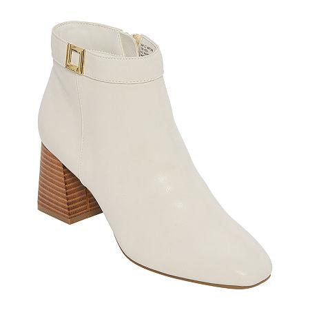 1960s Style Clothing & 60s Fashion Liz Claiborne Womens Macomb Booties Block Heel 5 12 Medium White $43.99 AT vintagedancer.com