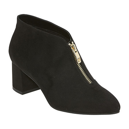 1950s Style Shoes   Heels, Flats, Boots Liz Claiborne Womens Hanson Booties Block Heel 7 Wide Black $43.99 AT vintagedancer.com