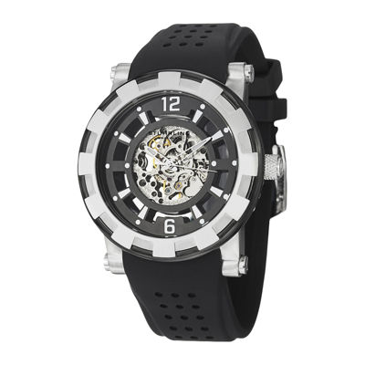 Stührling® Original Mens Silver-Tone Bezel Black Silicone Strap Skeleton Automatic Watch