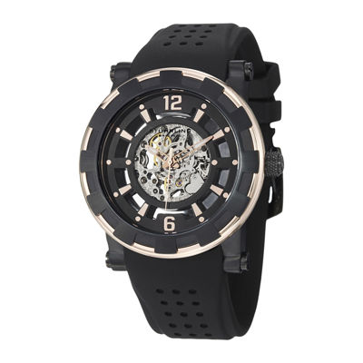 Stührling® Original Mens Gold-Tone Bezel Black Silicone Strap Skeleton Automatic Watch
