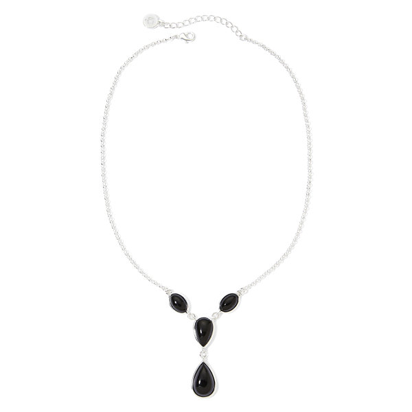 Liz Claiborne® Silver-Tone Black Y Necklace