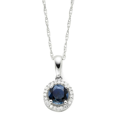 Genuine Sapphire & Diamond-Accent Round 10K Gold Pendant Necklace