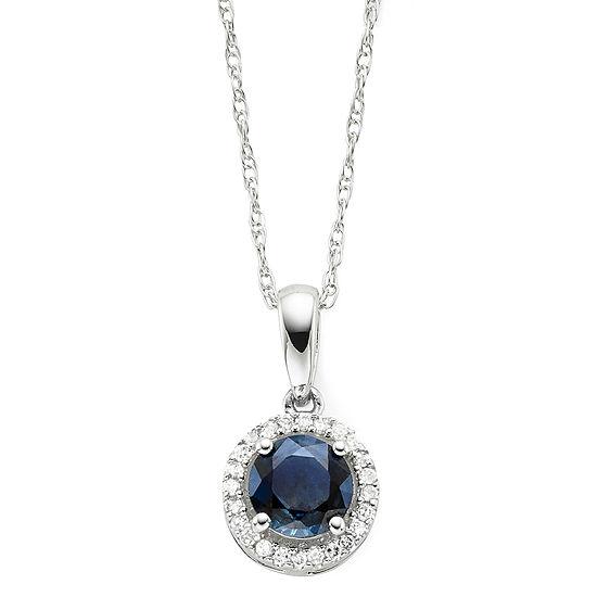 Genuine Sapphire & Diamond-Accent Round 10K Gold Pendant Necklace