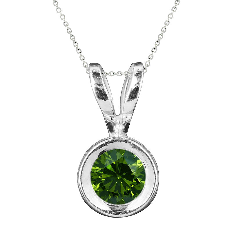 image of 1/CT. T.W. Color-Enhanced Green Diamond Solitaire Pendant Necklace-pp5004220791