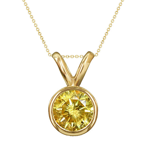1 2 Ct Tw Color Enhanced Yellow Diamond Solitaire Pendant Necklace