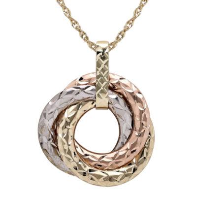 Infinite Gold™ 14K Tri-Tone Gold 3-Circle Pendant Necklace