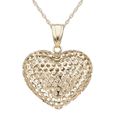 Infinite Gold™ 14K Yellow Gold Puff Heart Mesh Pendant Necklace
