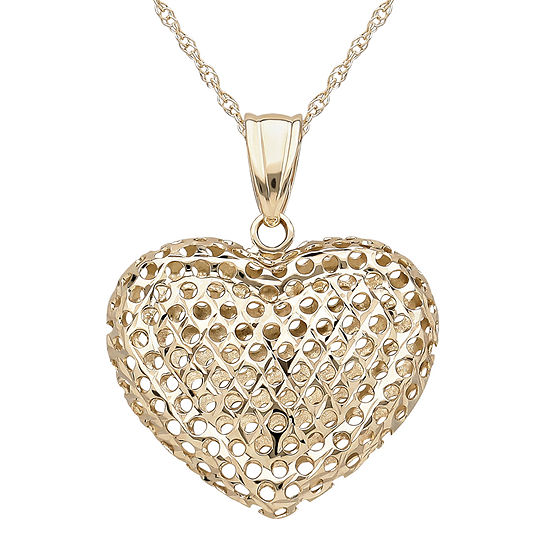 Infinite Gold 14k Yellow Gold Puff Heart Mesh Pendant Necklace