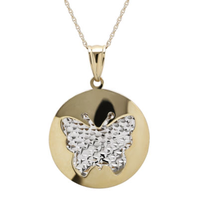 Infinite Gold™ 14K Two-Tone Gold Butterfly Cutout Pendant Necklace